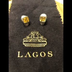 LAGOS Citrine Caviar studs- like new!